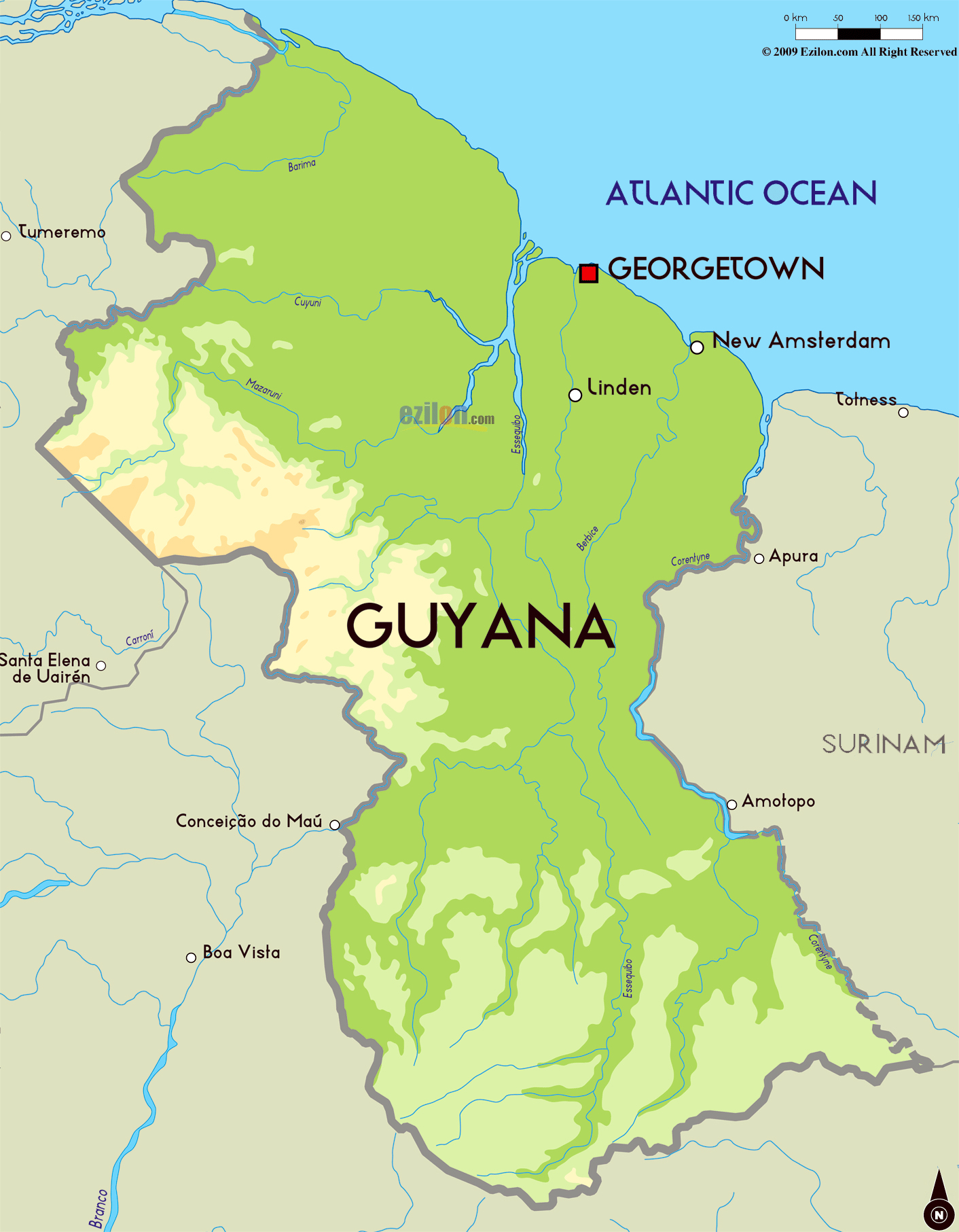 Large physical map of Guyana with major cities Guyana South