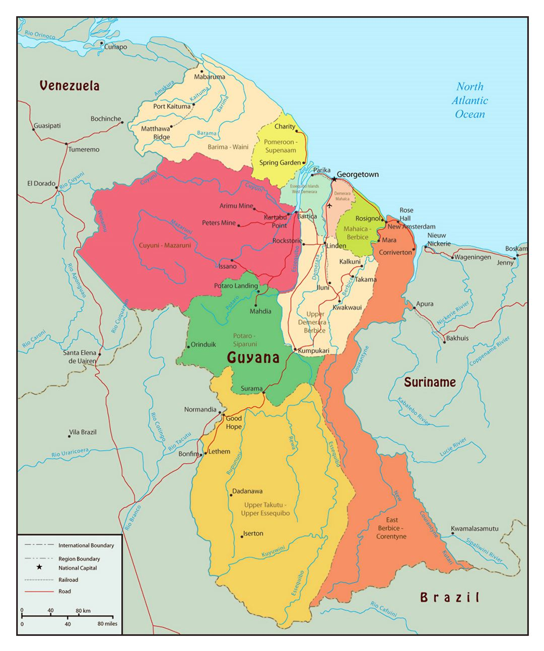Large political and administrative map of Guyana with roads and