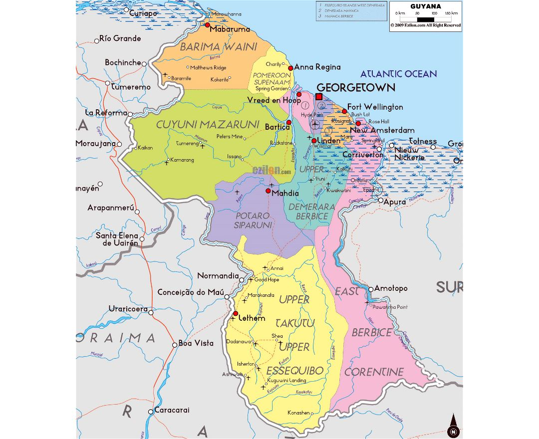 Maps of Guyana Detailed map of Guyana in English Tourist map