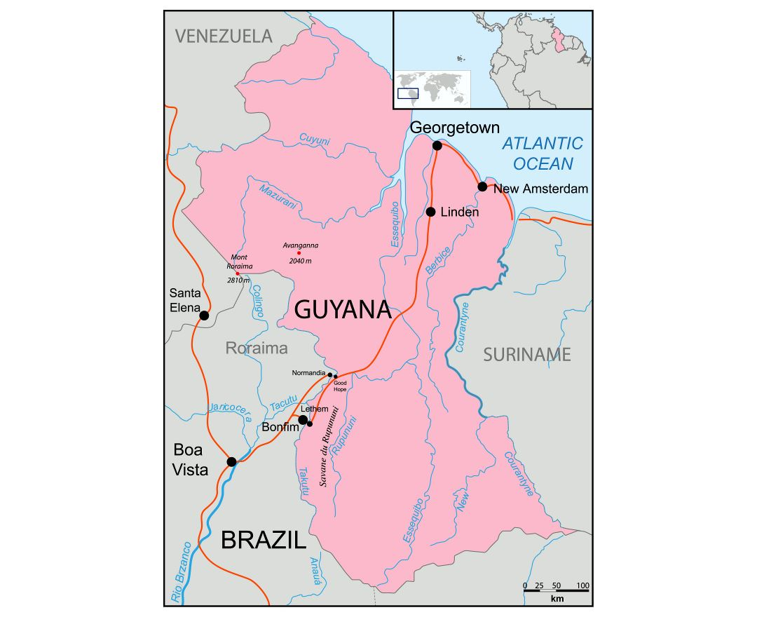 Large political map of Guyana
