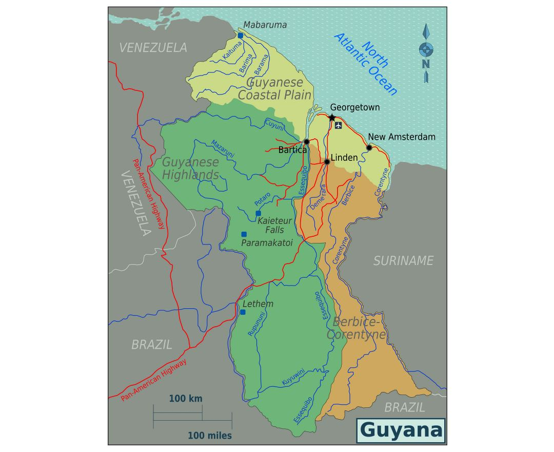 Large regions map of Guyana