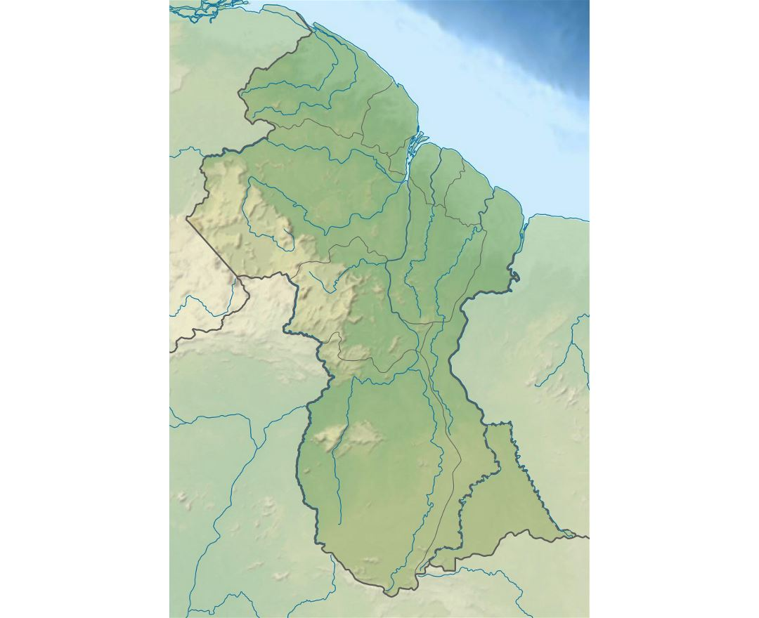 Large relief map of Guyana