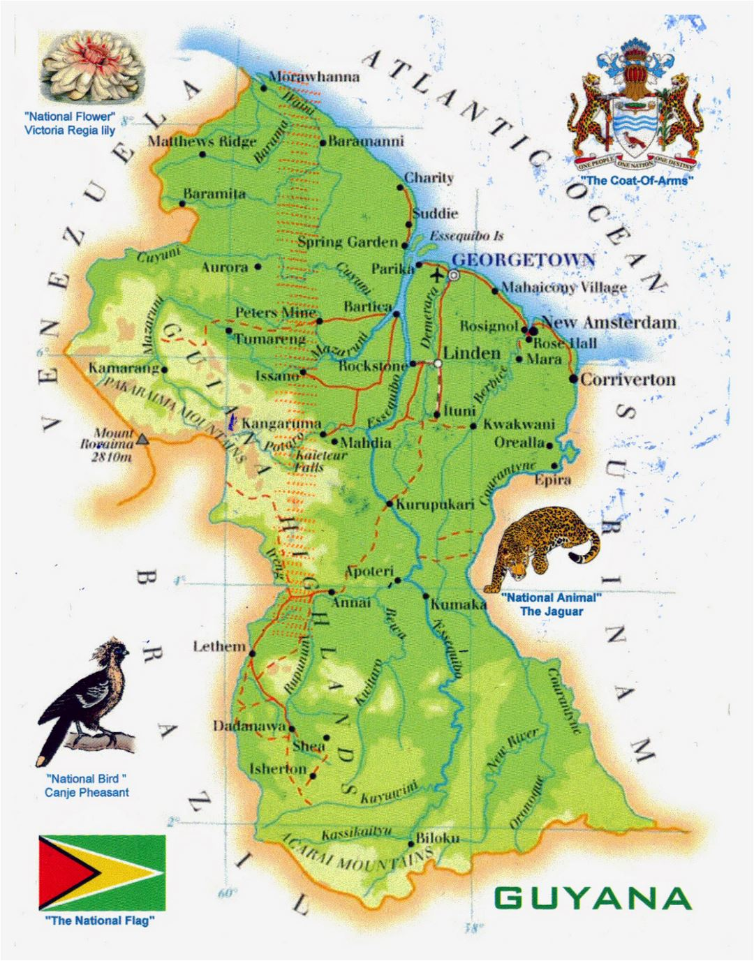 Large tourist map of Guyana