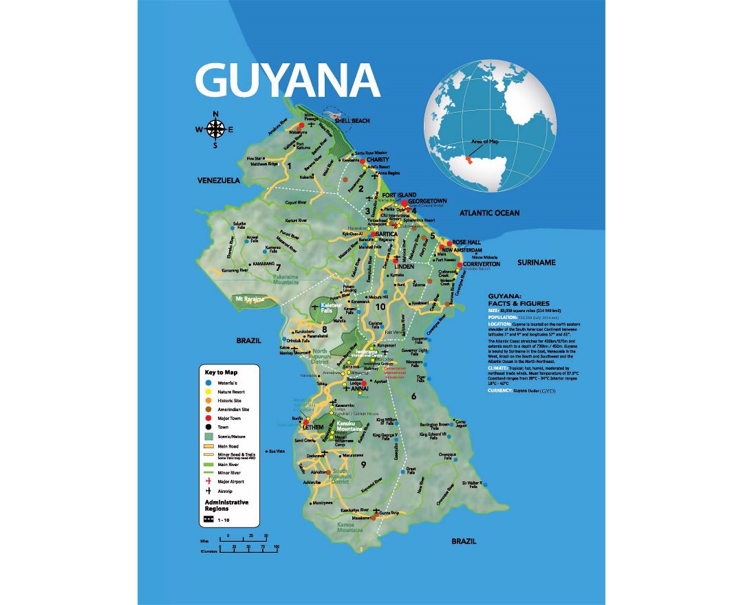 Large tourist map of Guyana with other marks