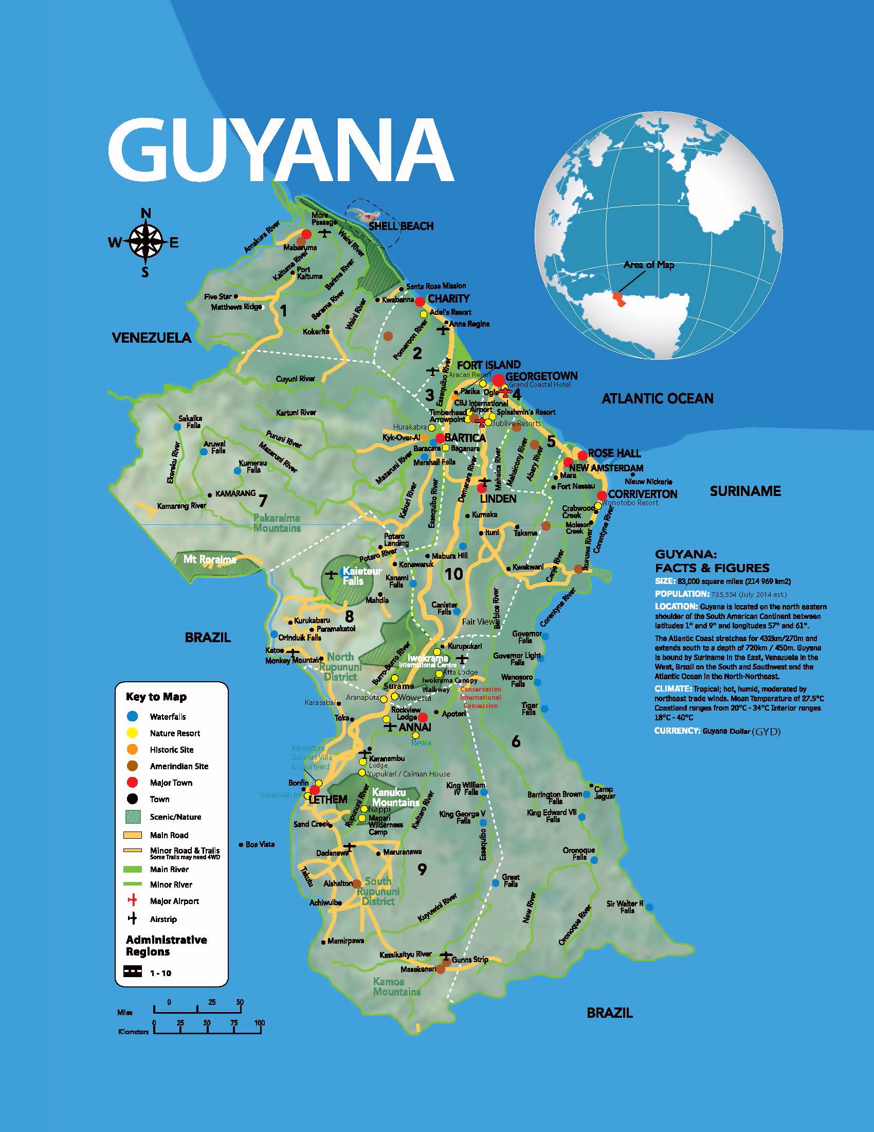 Large tourist map of Guyana with other marks | Guyana | South ...
