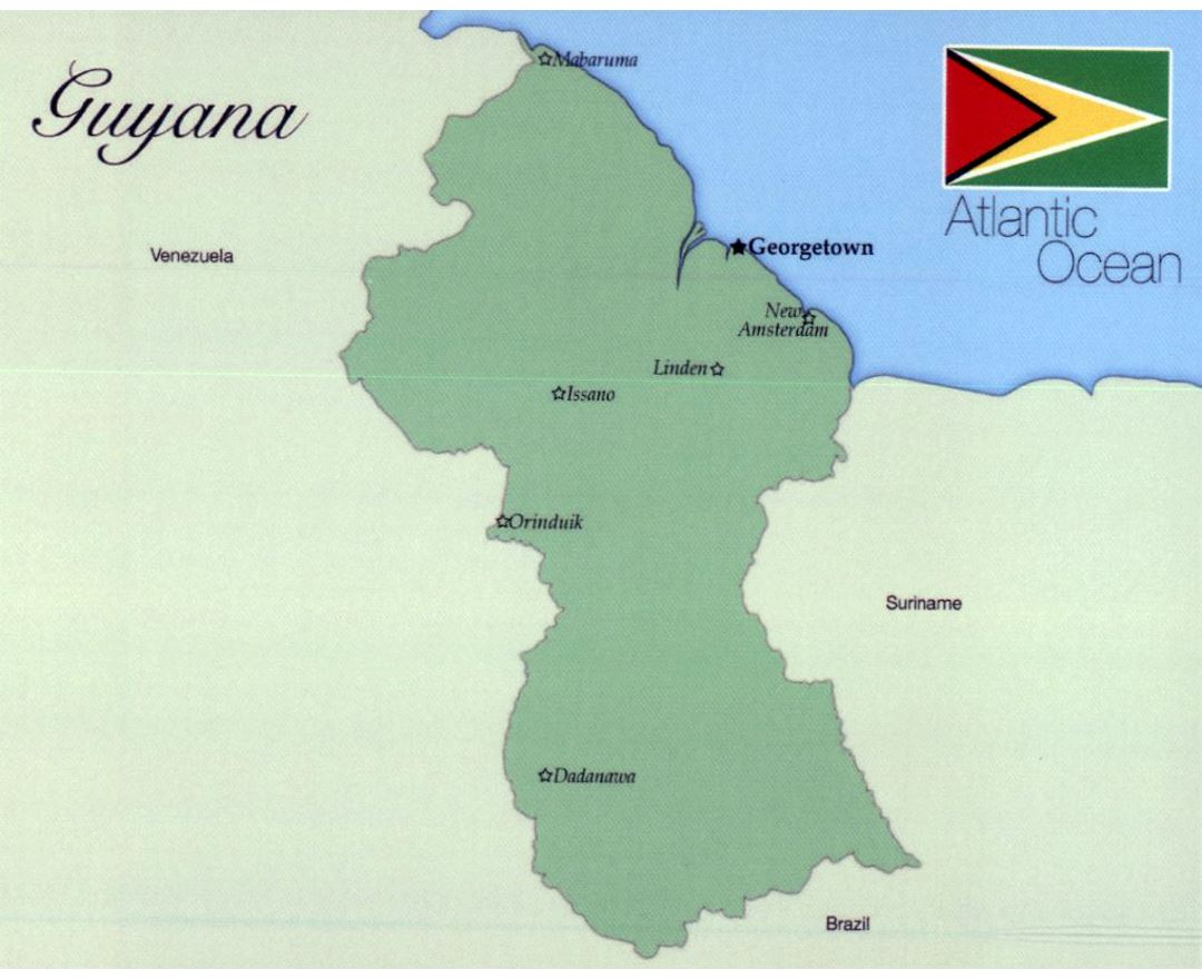 Map of Guyana with flag