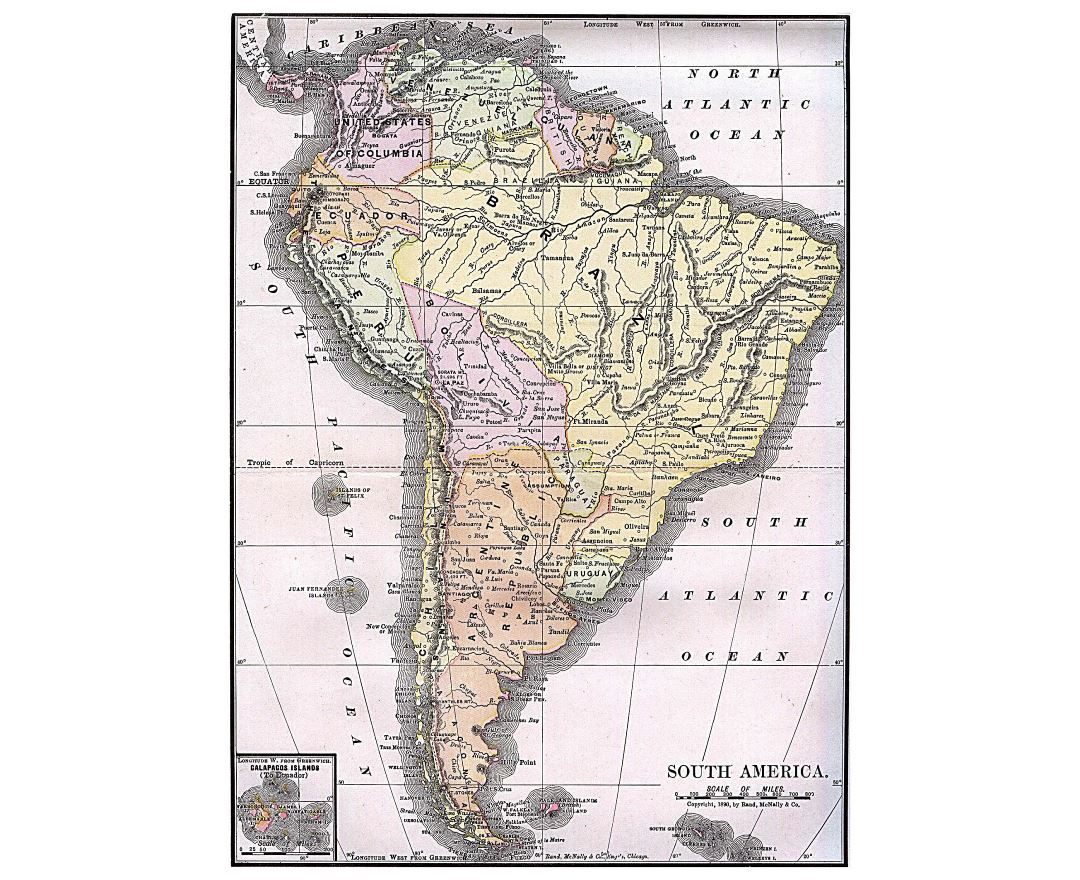 Large detailed old political map of South America - 1892