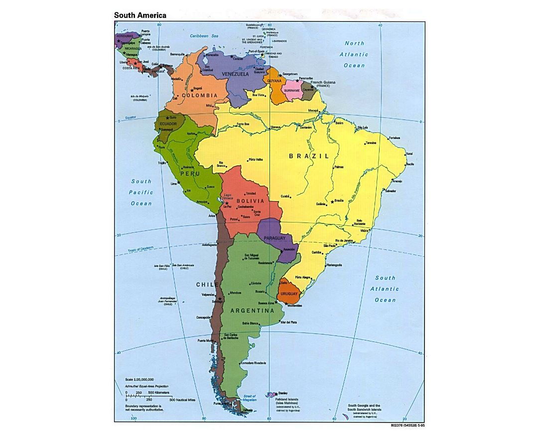 Large detailed political map of South America - 1995