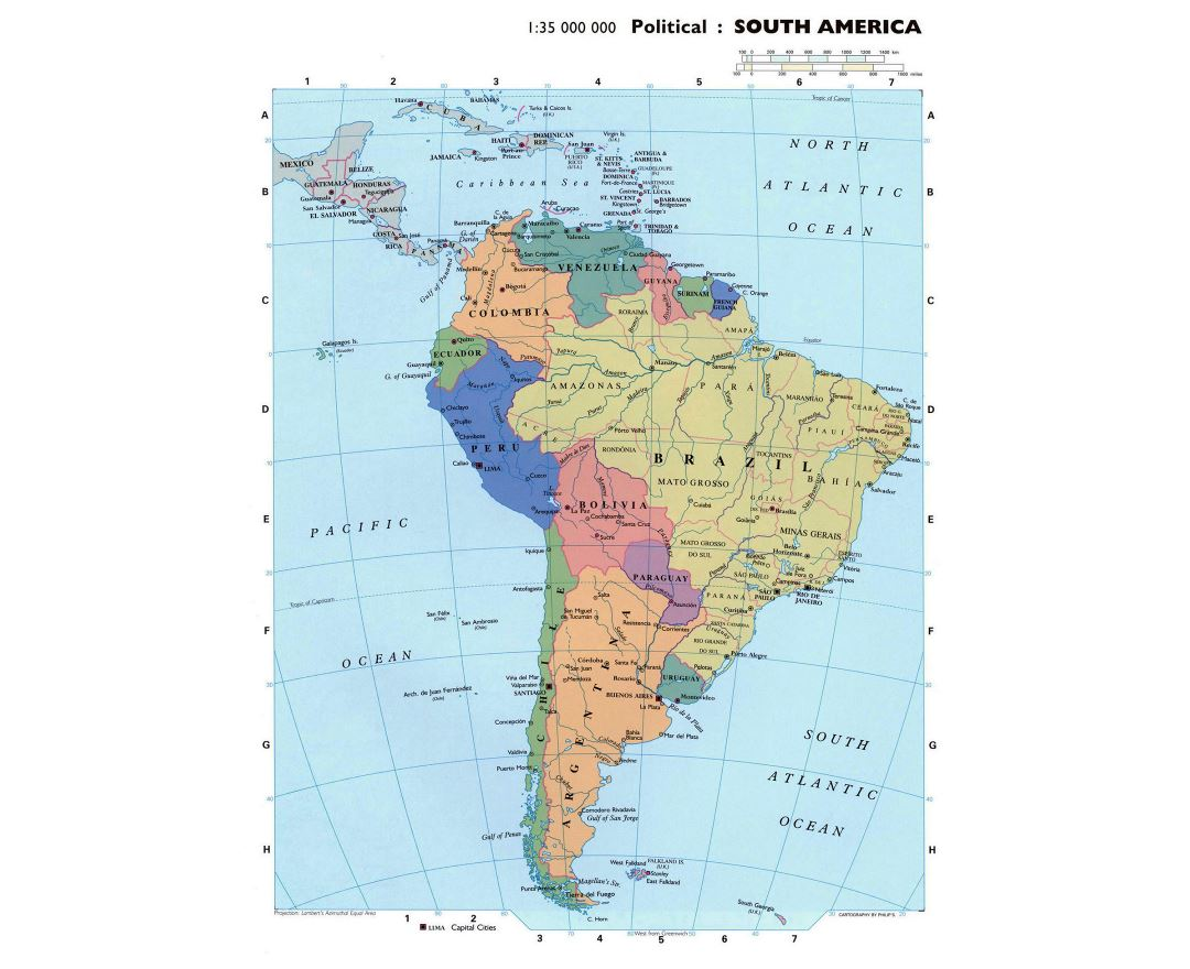 Large detailed political map of South America