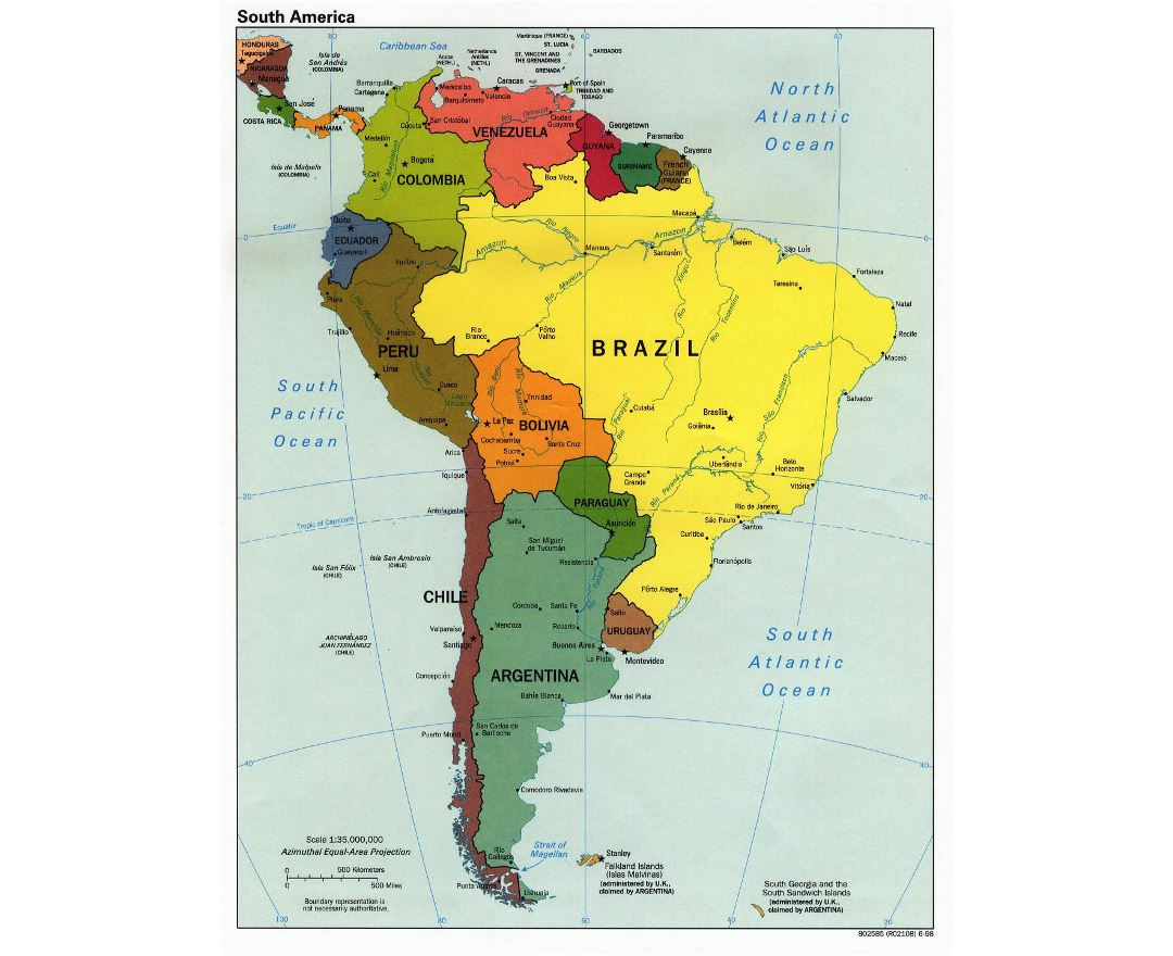 Political Map Of South America With Capitals.Maps Of South America And South American Countries Collection Of