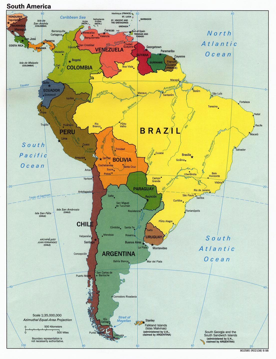 Large detailed political map of South America with capitals - 1998 ...