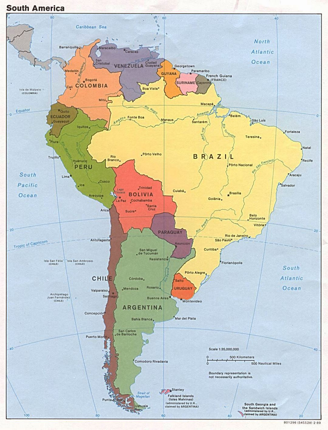 Large detailed political map of South America with capitals and major cities - 1989
