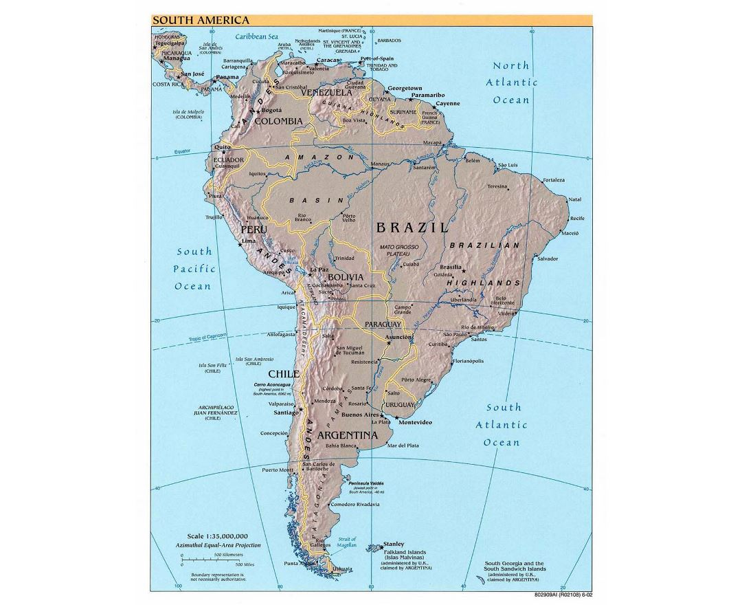 Large detailed political map of South America with relief - 2002