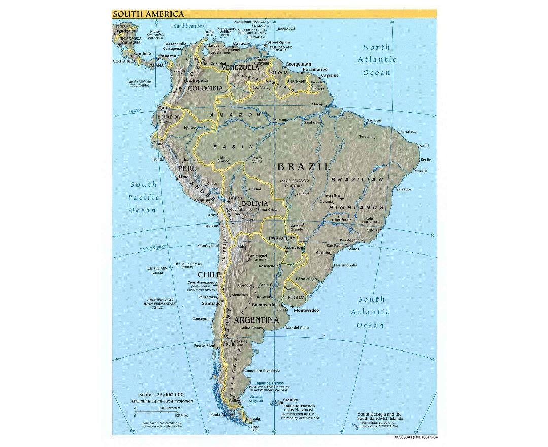 Large detailed political map of South America with relief and capitals - 2004