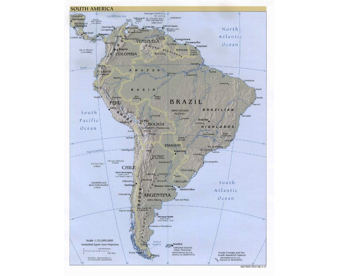 Large detailed political map of South America with relief, major cities and capitals - 2001
