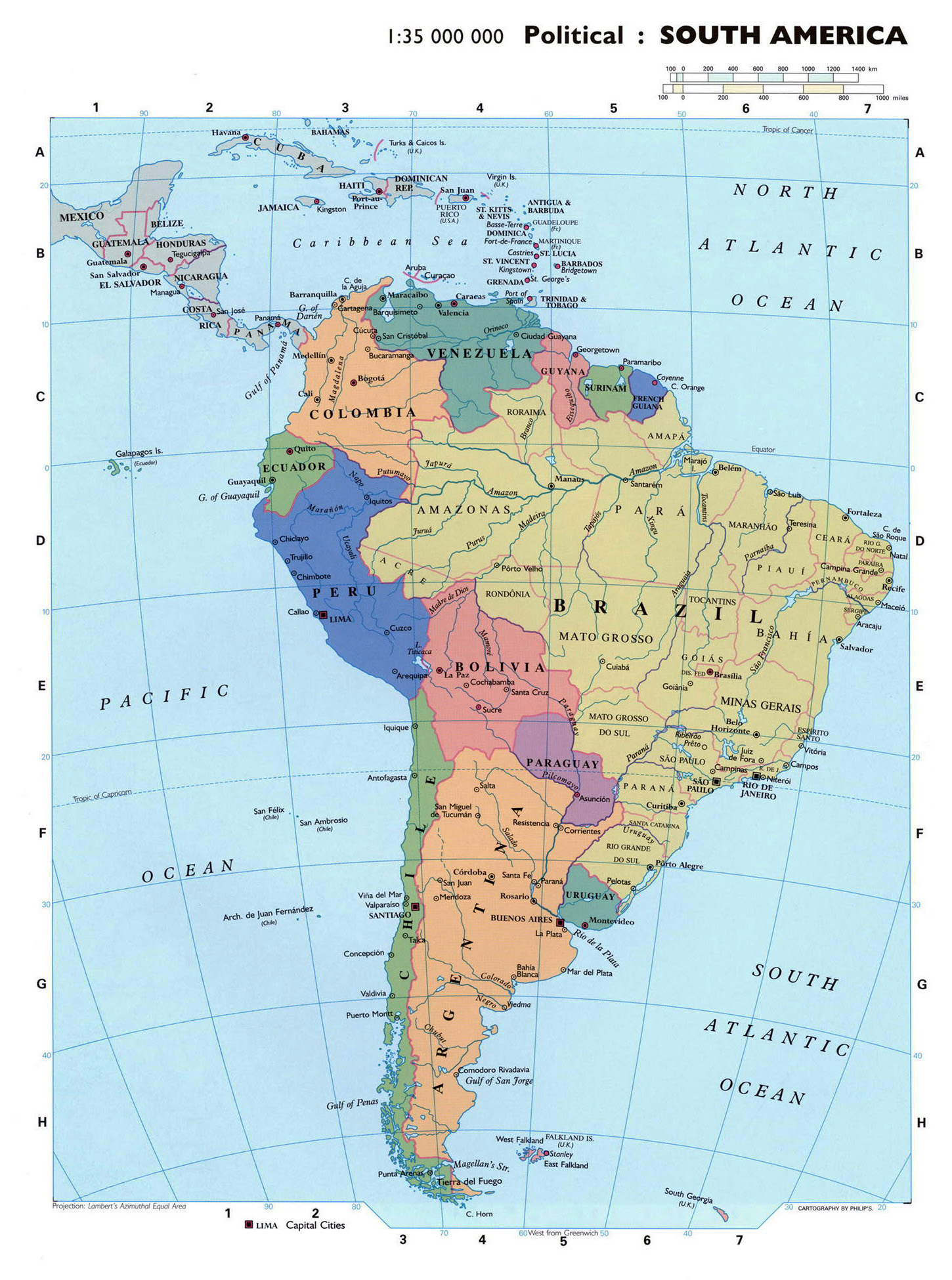 Large detailed political map of South America | South America ...