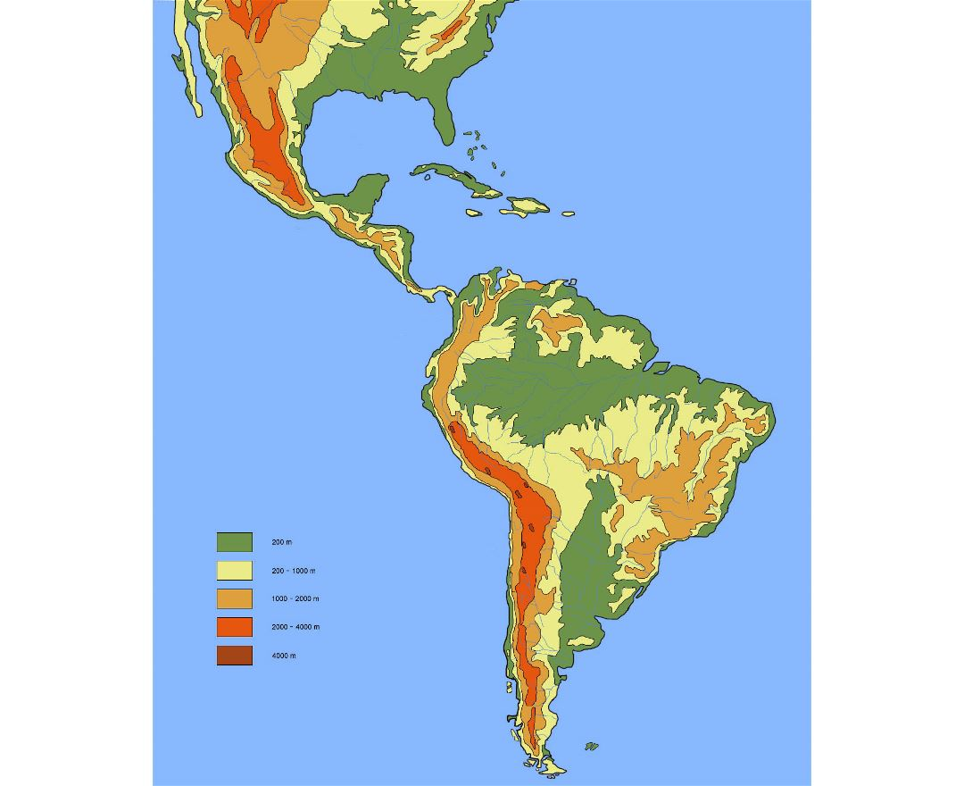 Large elevation map of South America