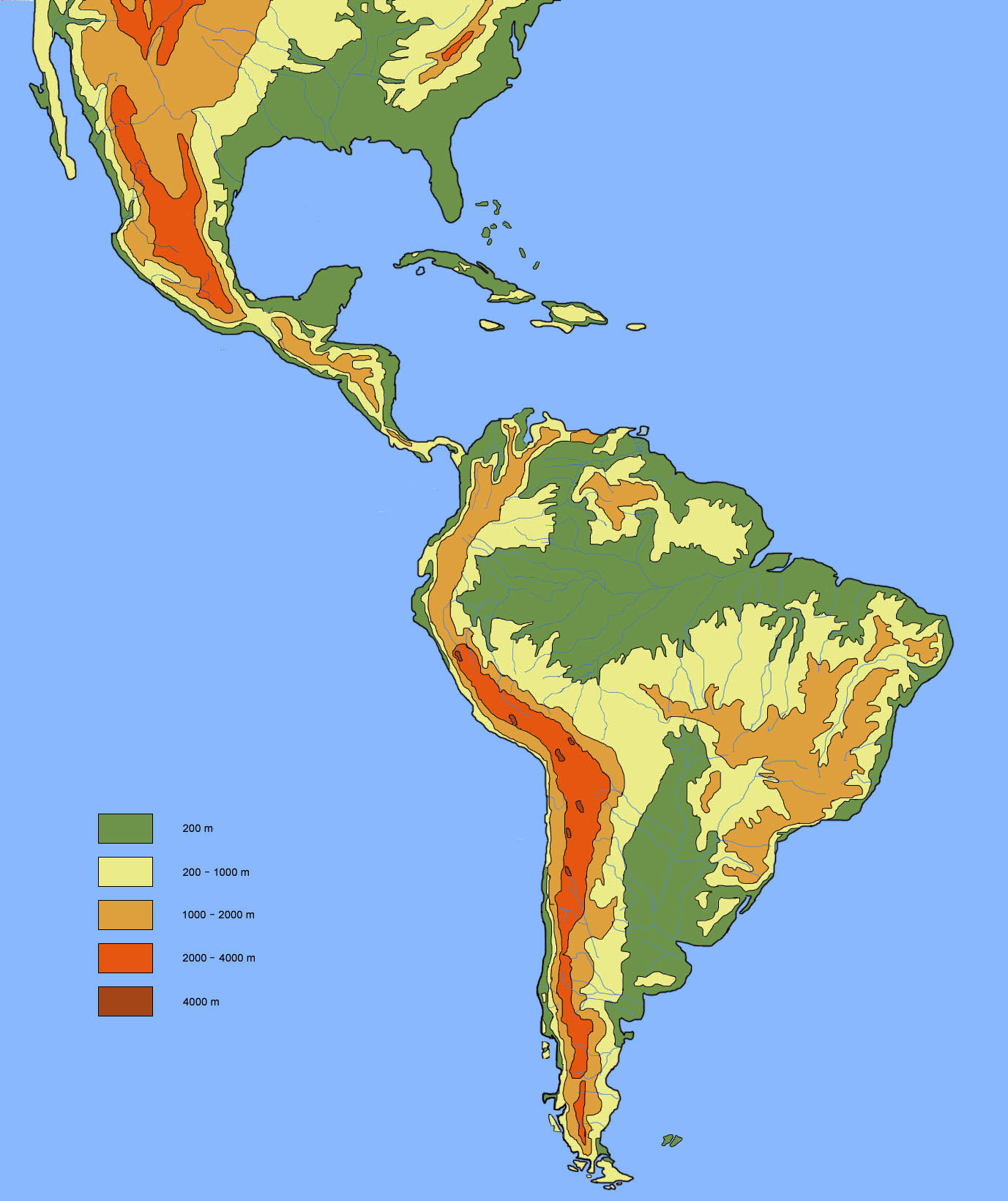 Large elevation map of south america south america mapsland large elevation map of south america gumiabroncs Choice Image