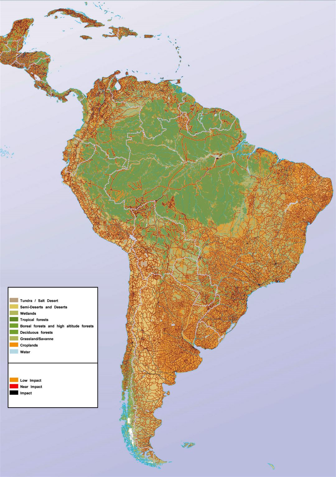Large human impact map of South America