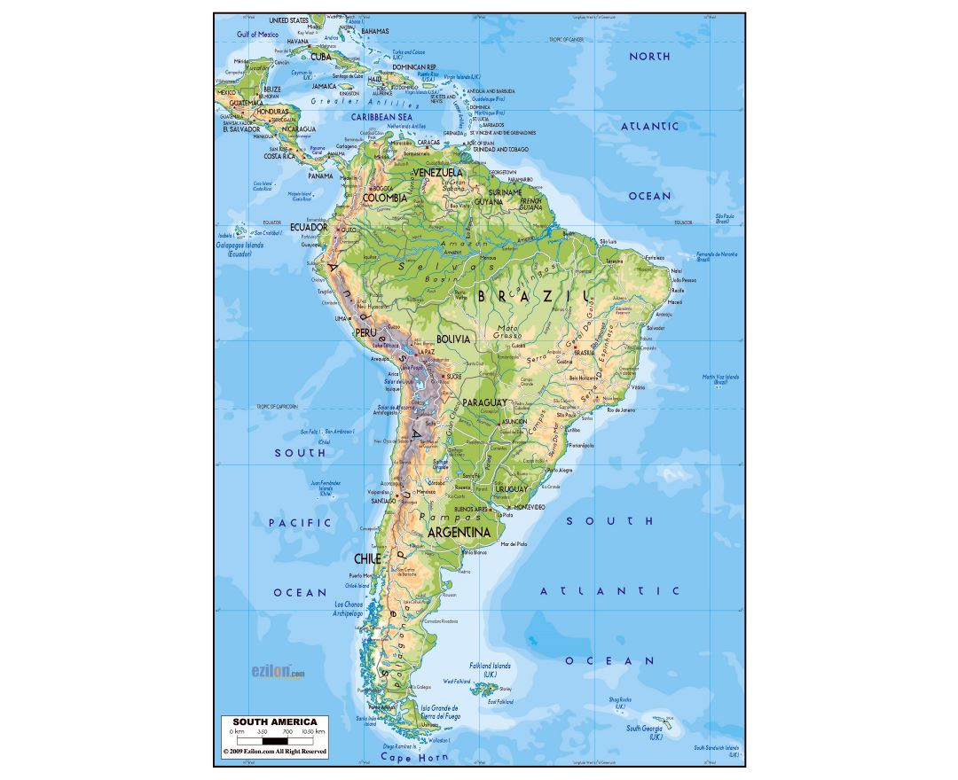 Large physical map of South America with roads and major cities