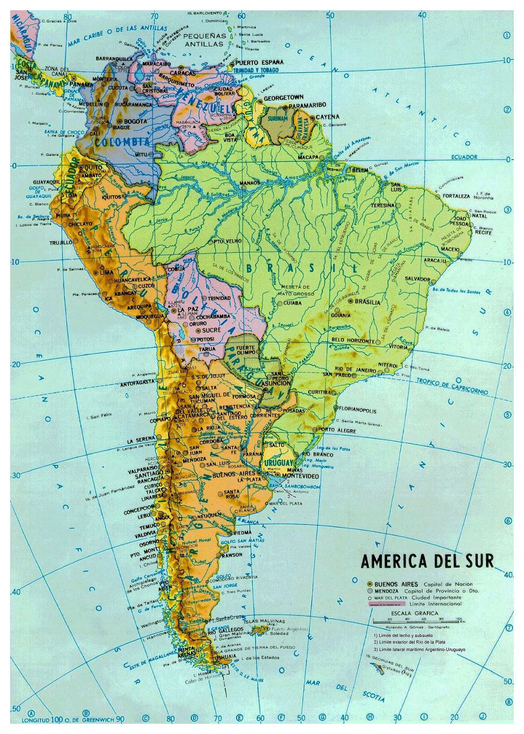 Large political and hydrographic map of South America with major cities and capitals