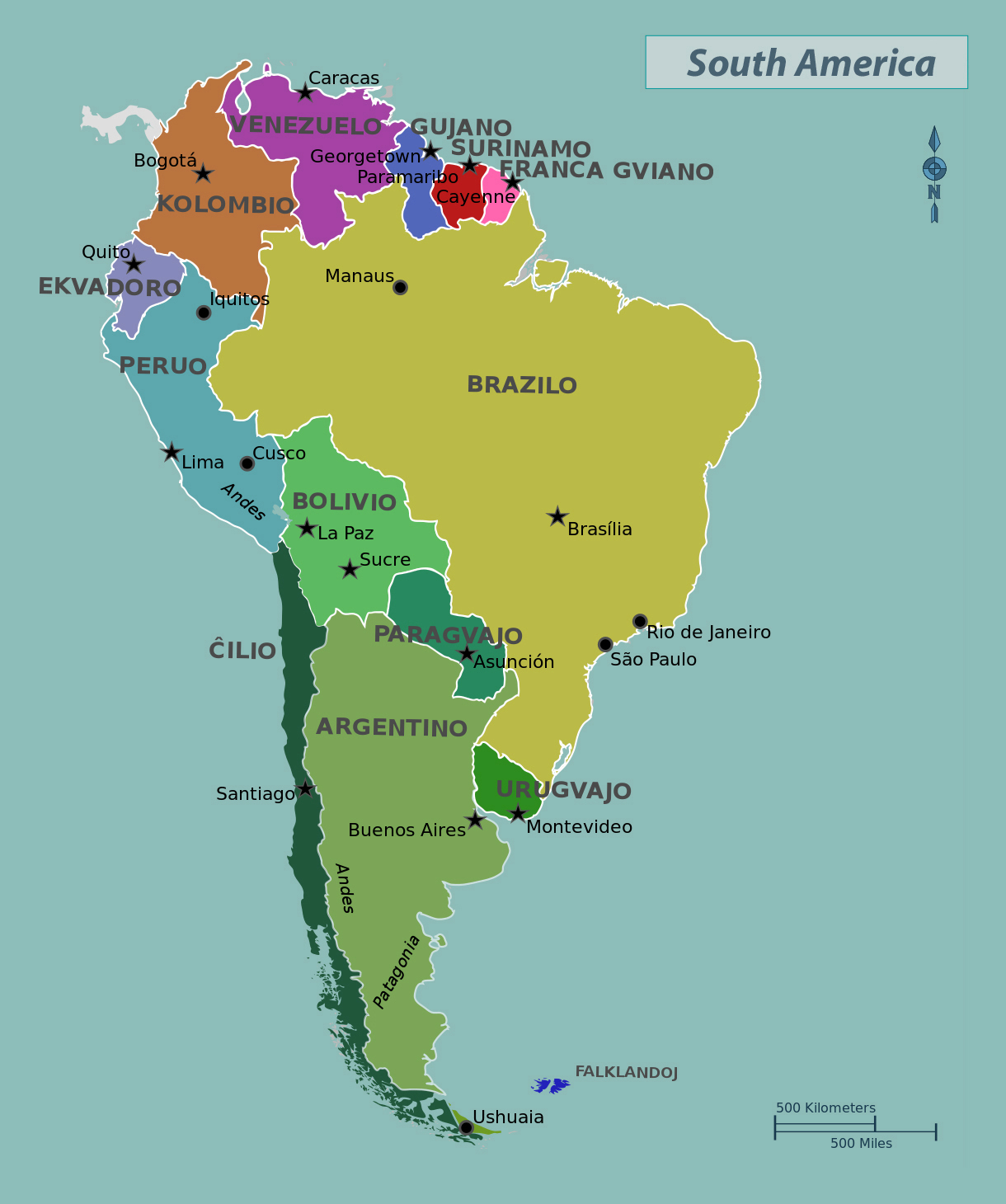Large political map of South America with capitals | South America