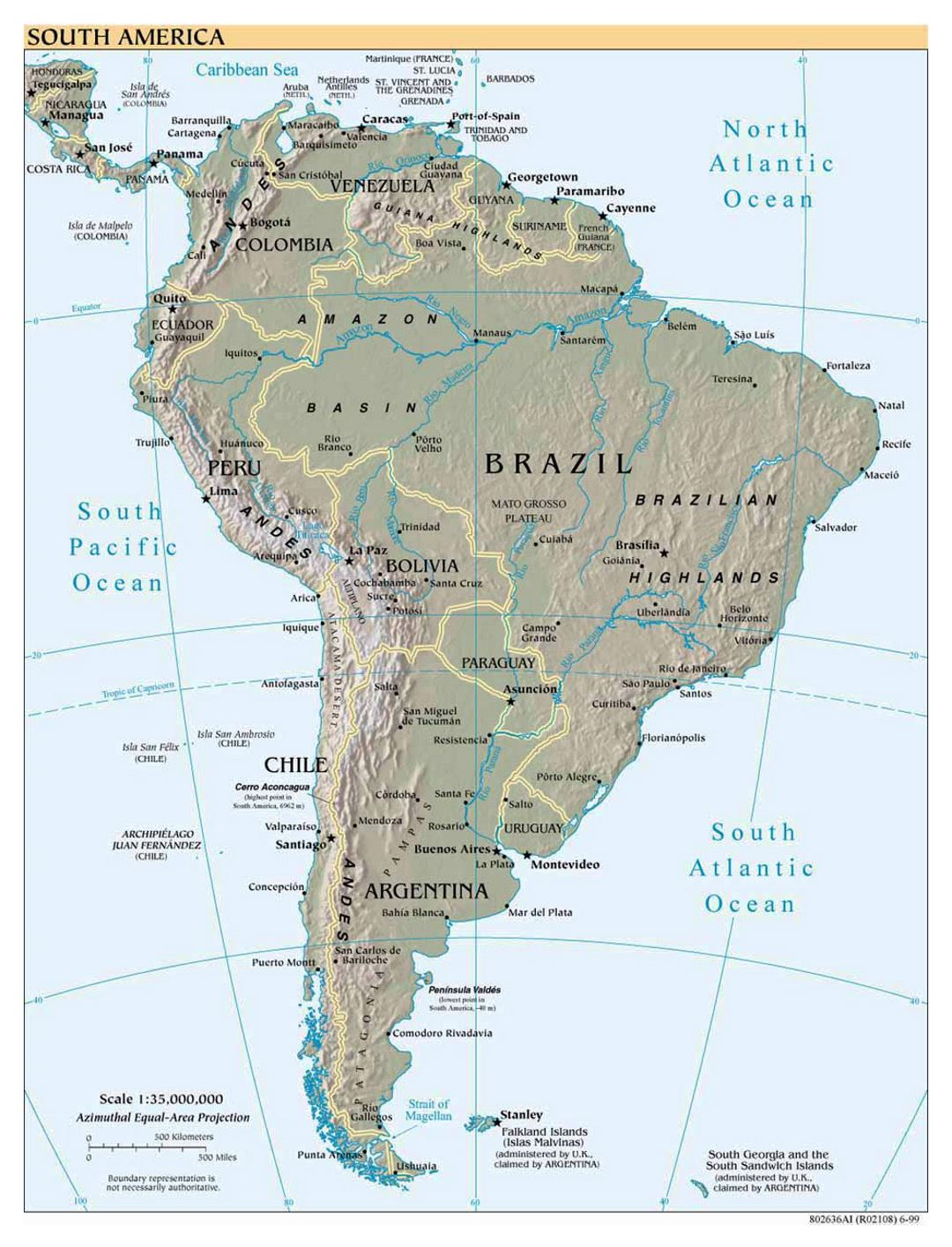 Large political map of South America with relief, major cities and capitals - 1999