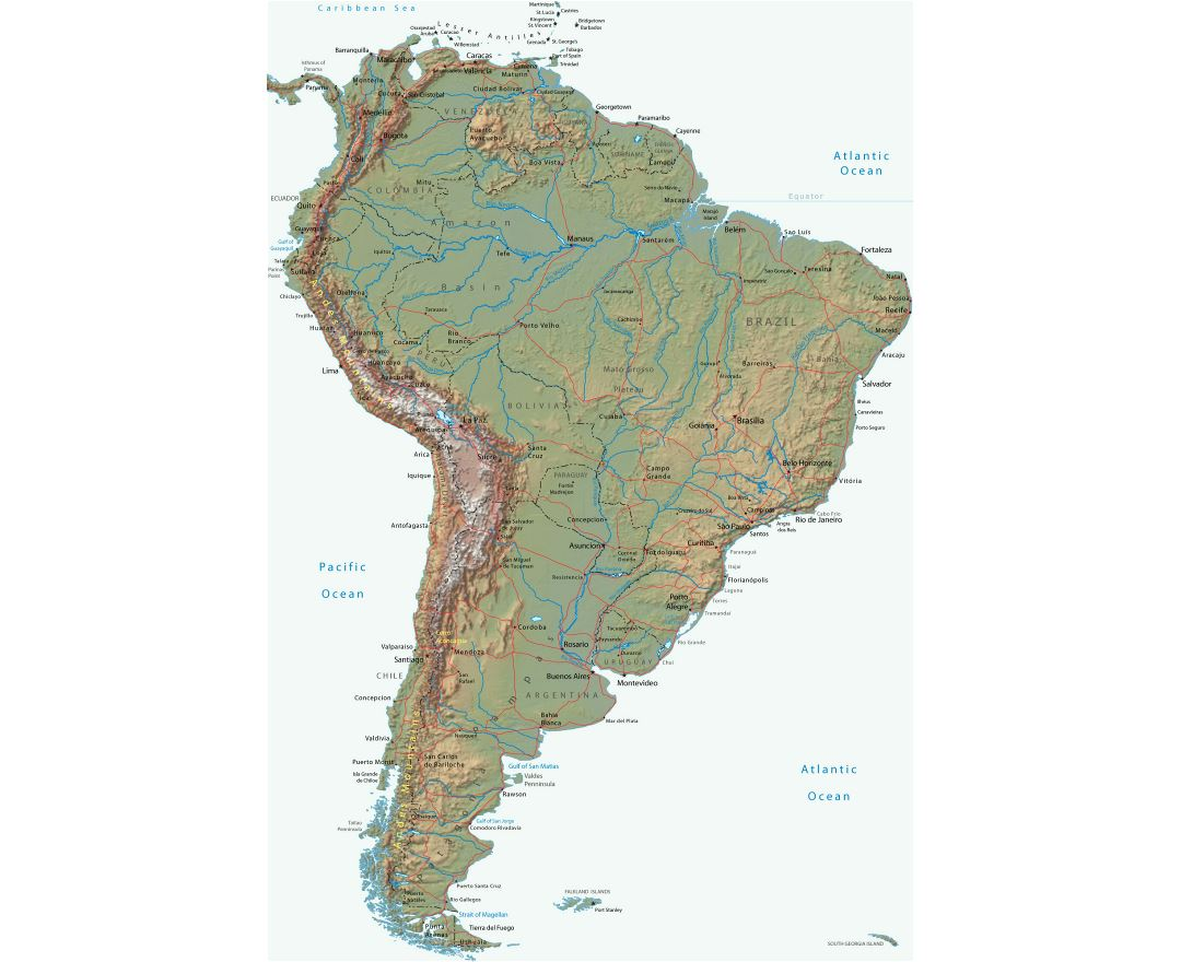 Large political map of South America with relief