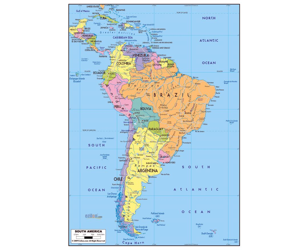 Maps of South America and South American countries Political maps Road and