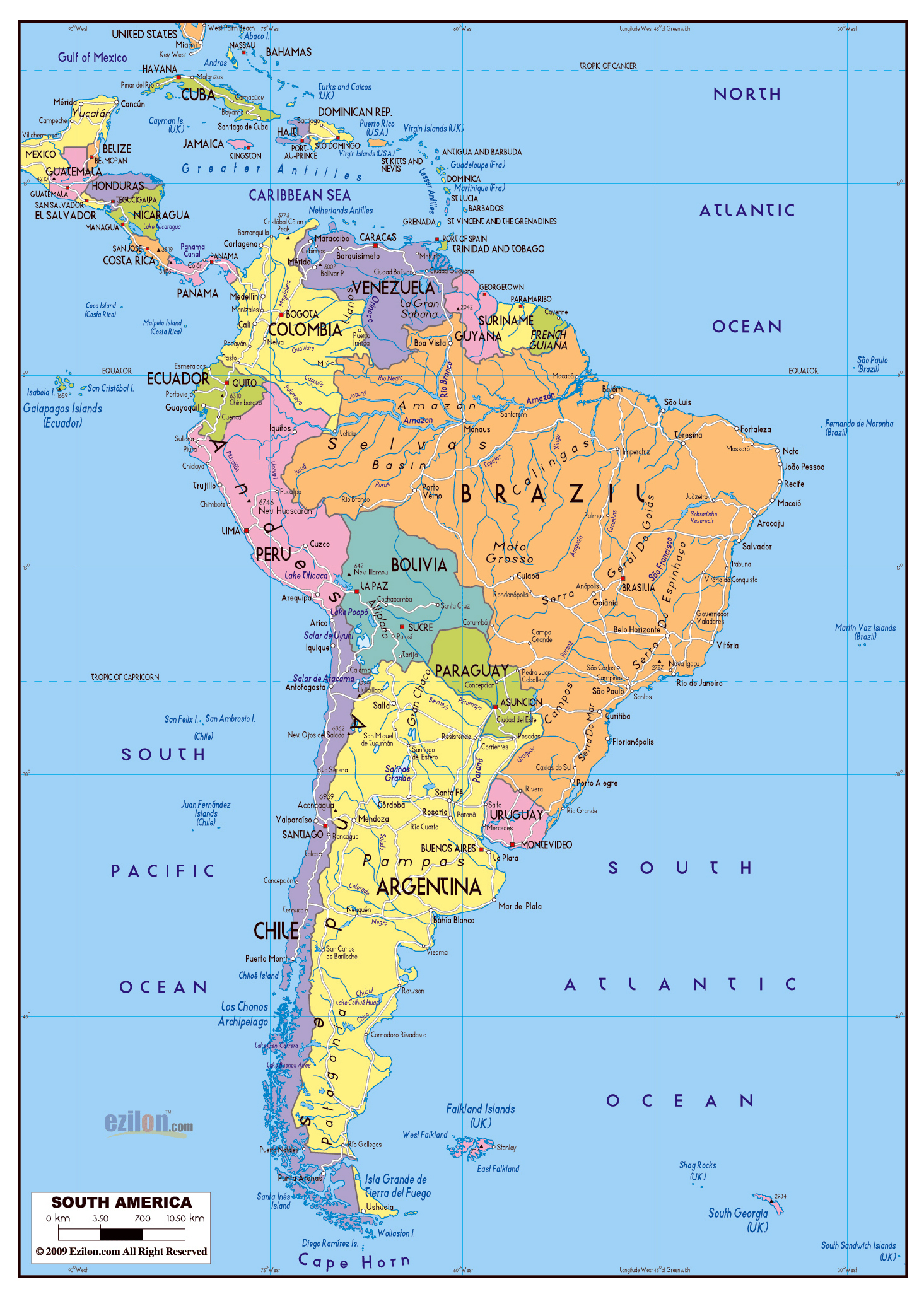 Large political map of South America with roads and major cities