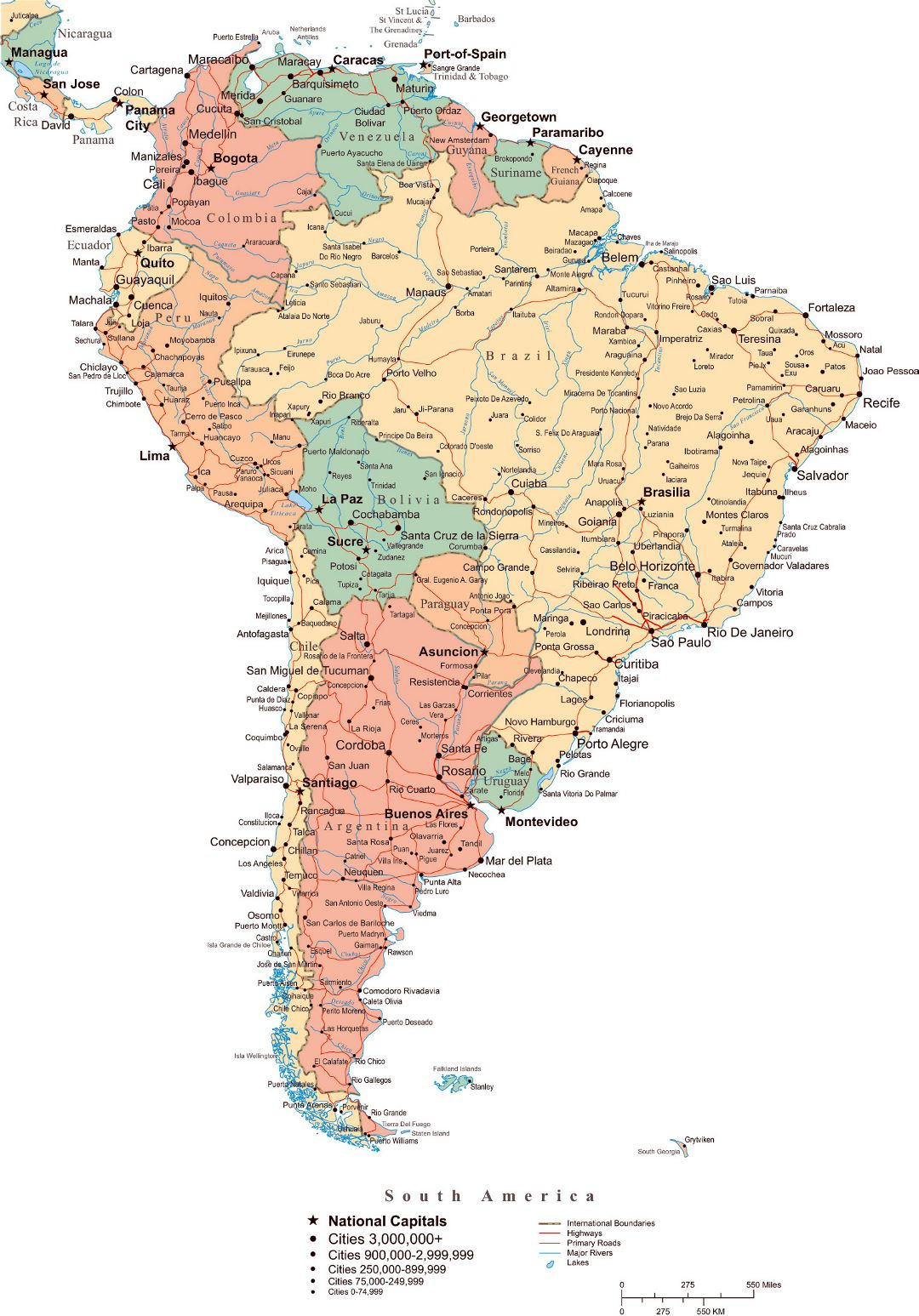 Large political map of South America with roads, major cities and capitals
