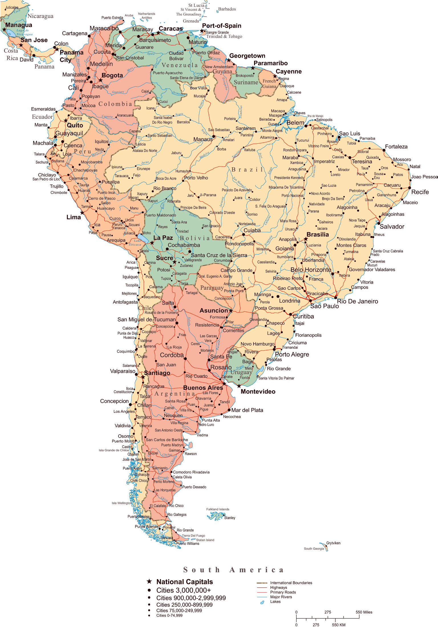 Large Political Map Of South America With Roads Major Cities And - South america cities map