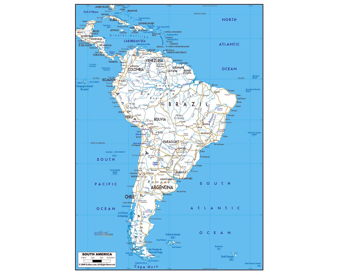 Large road map of South America with major cities