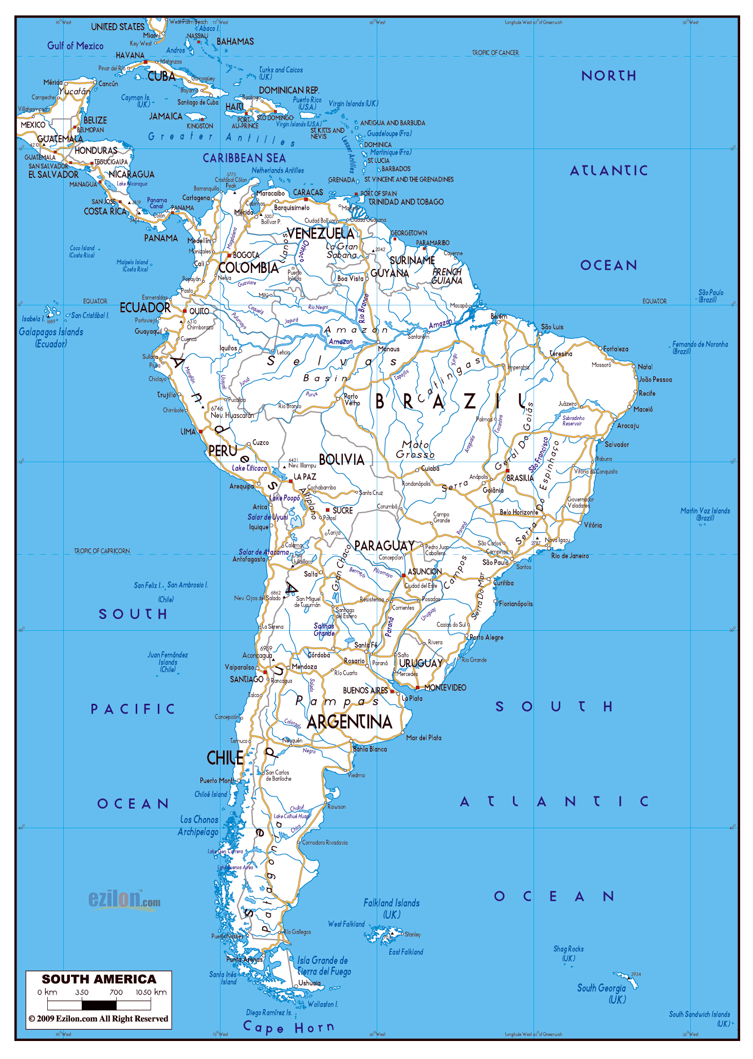 Large road map of South America with major cities South America