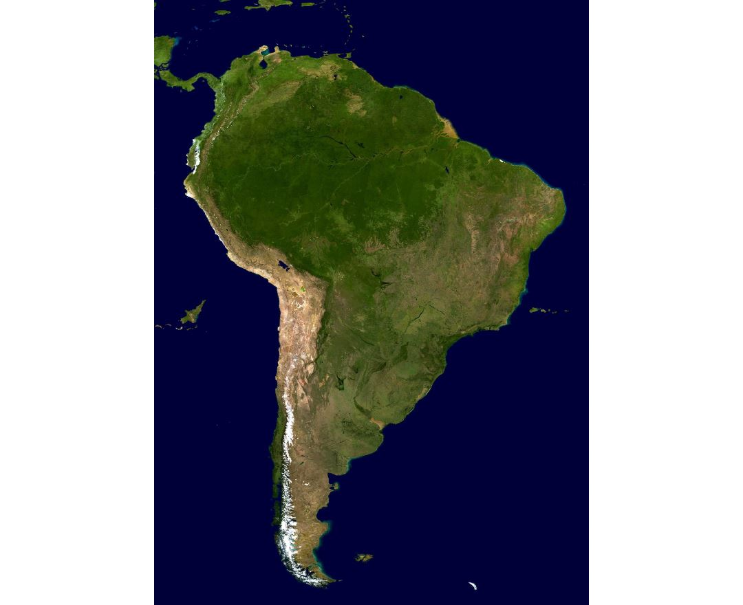 Large satellite map of South America