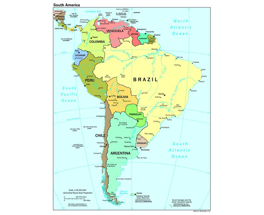 Maps Of South America And South American Countries Political - Argentina map cities