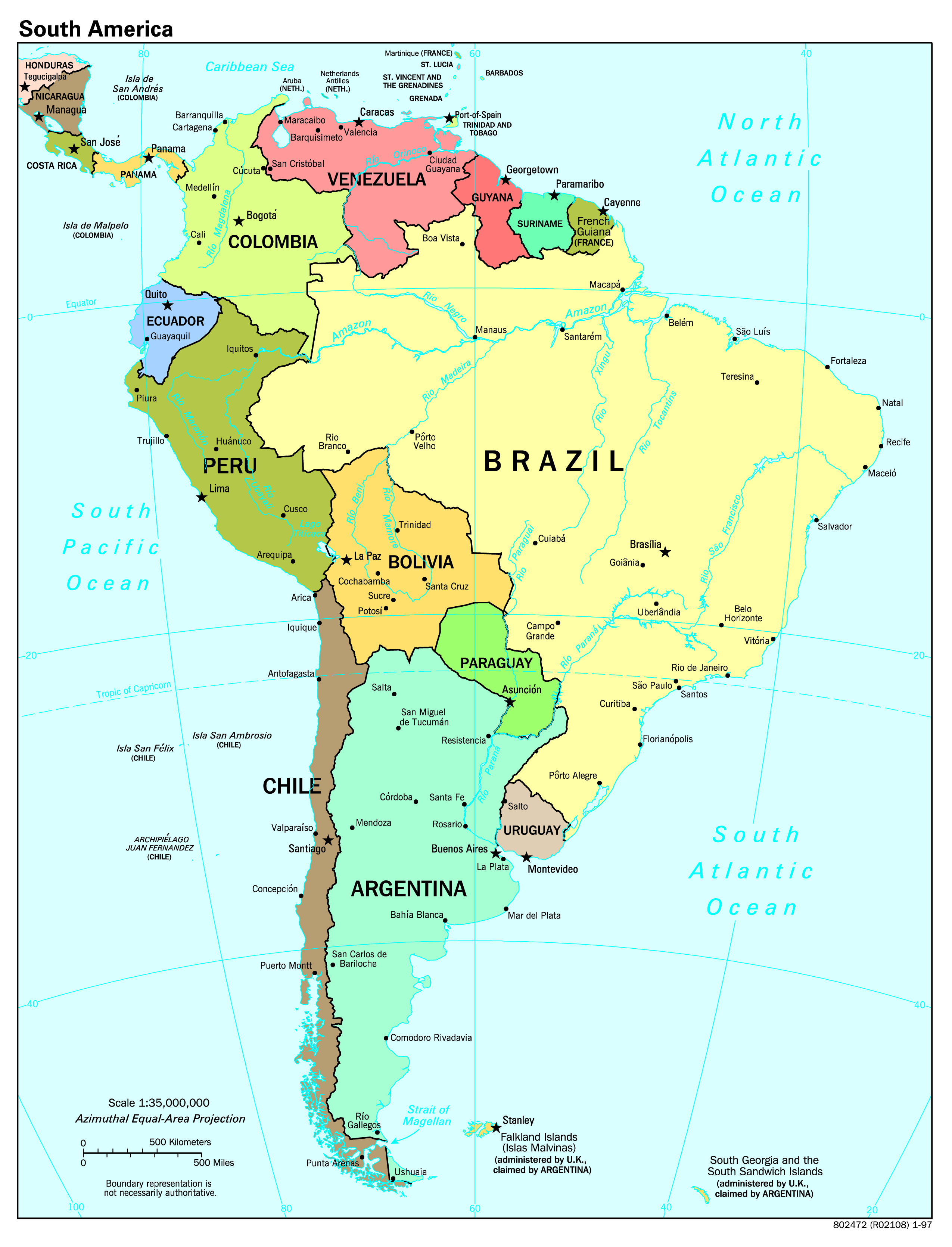 Large Scale Political Map Of South America With Major Cities - South america cities map