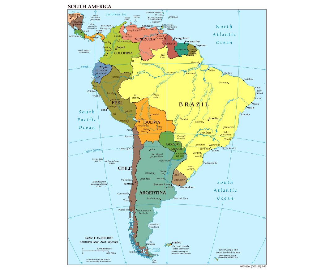 Large scale political map of South America with major cities and capitals - 2012