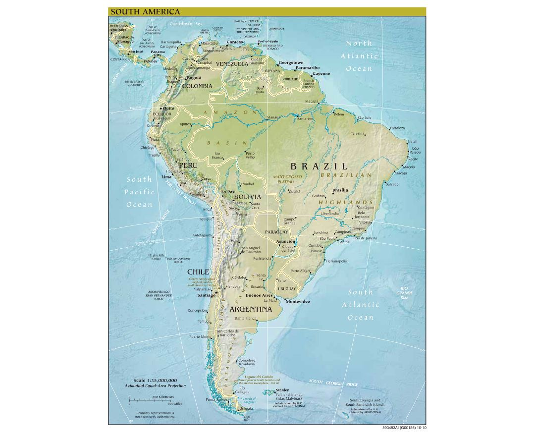 Large scale political map of South America with relief - 2010