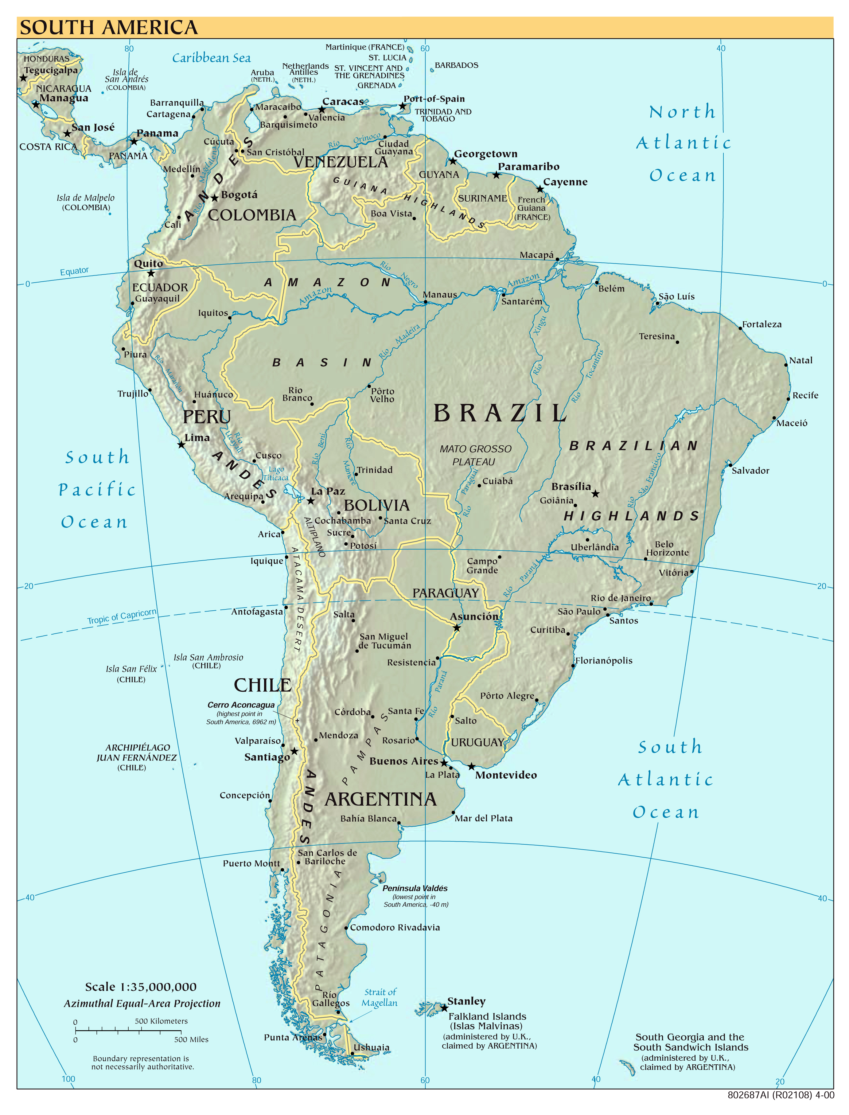 Large scale political map of South America with relief and ...
