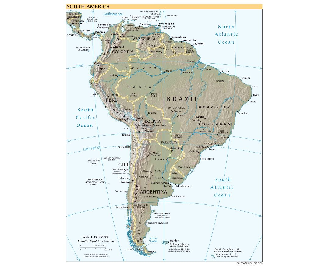 Large scale political map of South America with relief, major cities and capitals - 1999