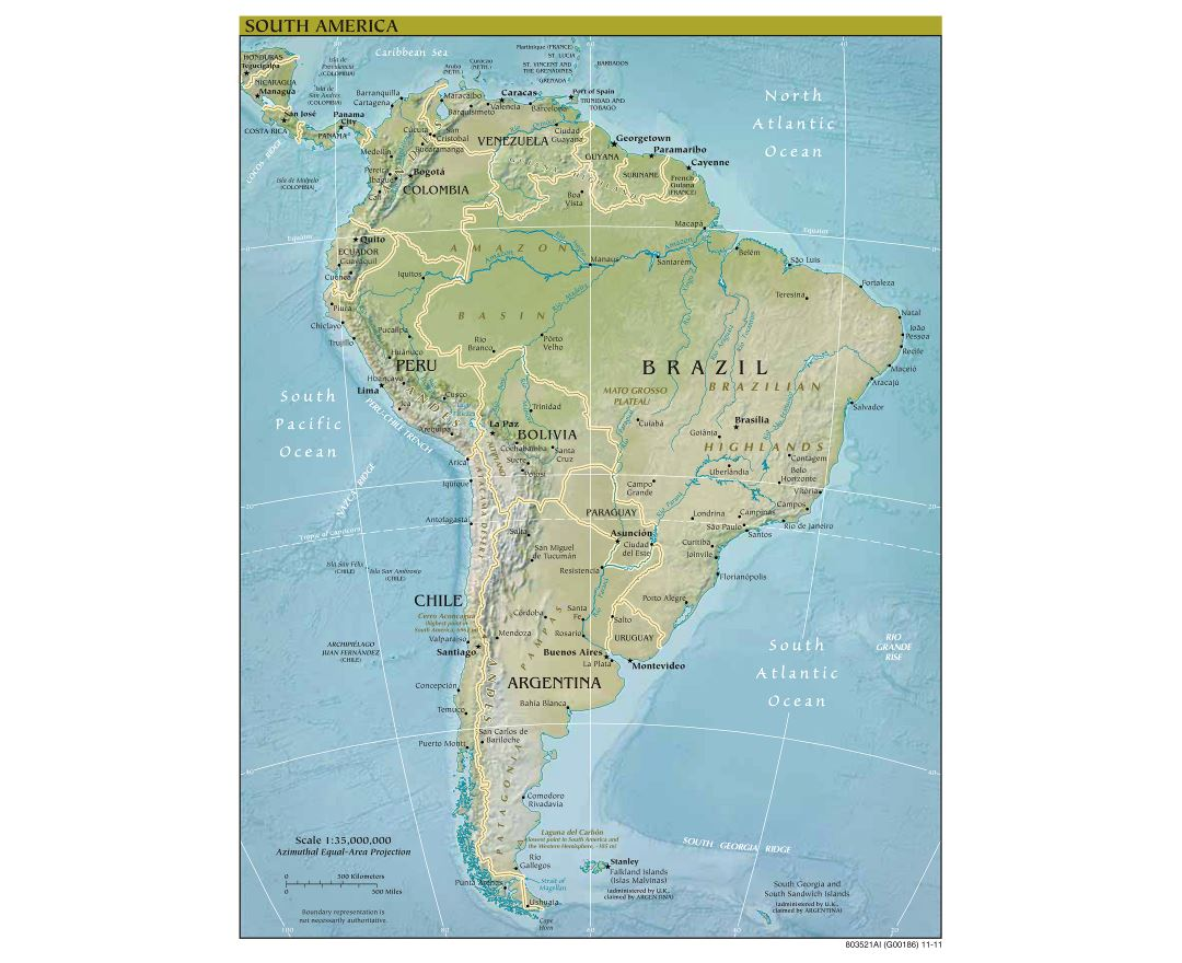 Large scale political map of South America with relief, major cities and capitals - 2011