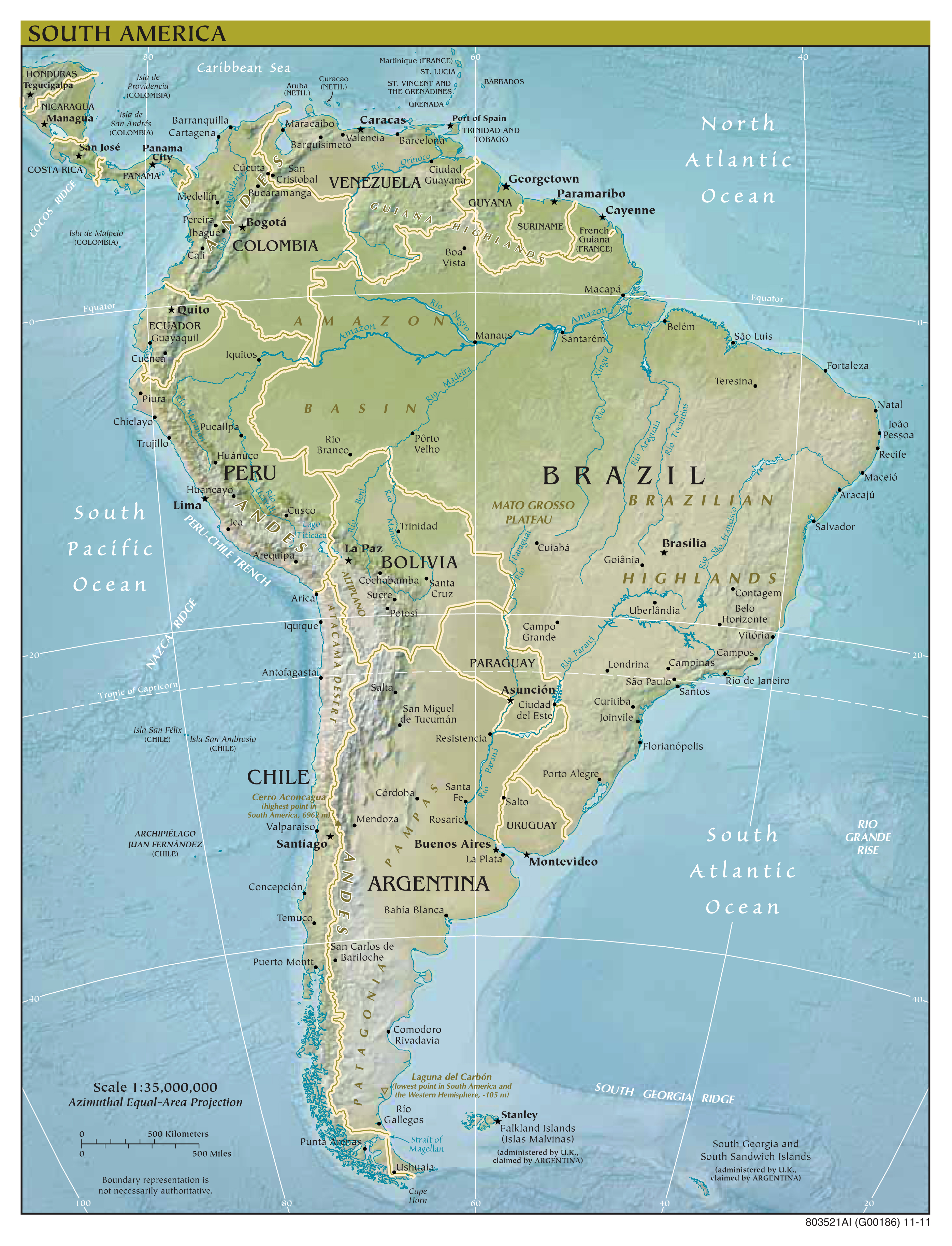 Large scale political map of South America with relief major