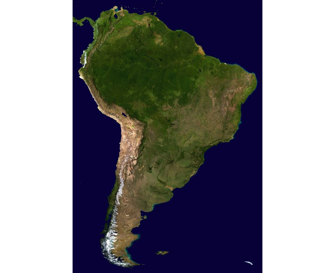 Large scale satellite map of South America