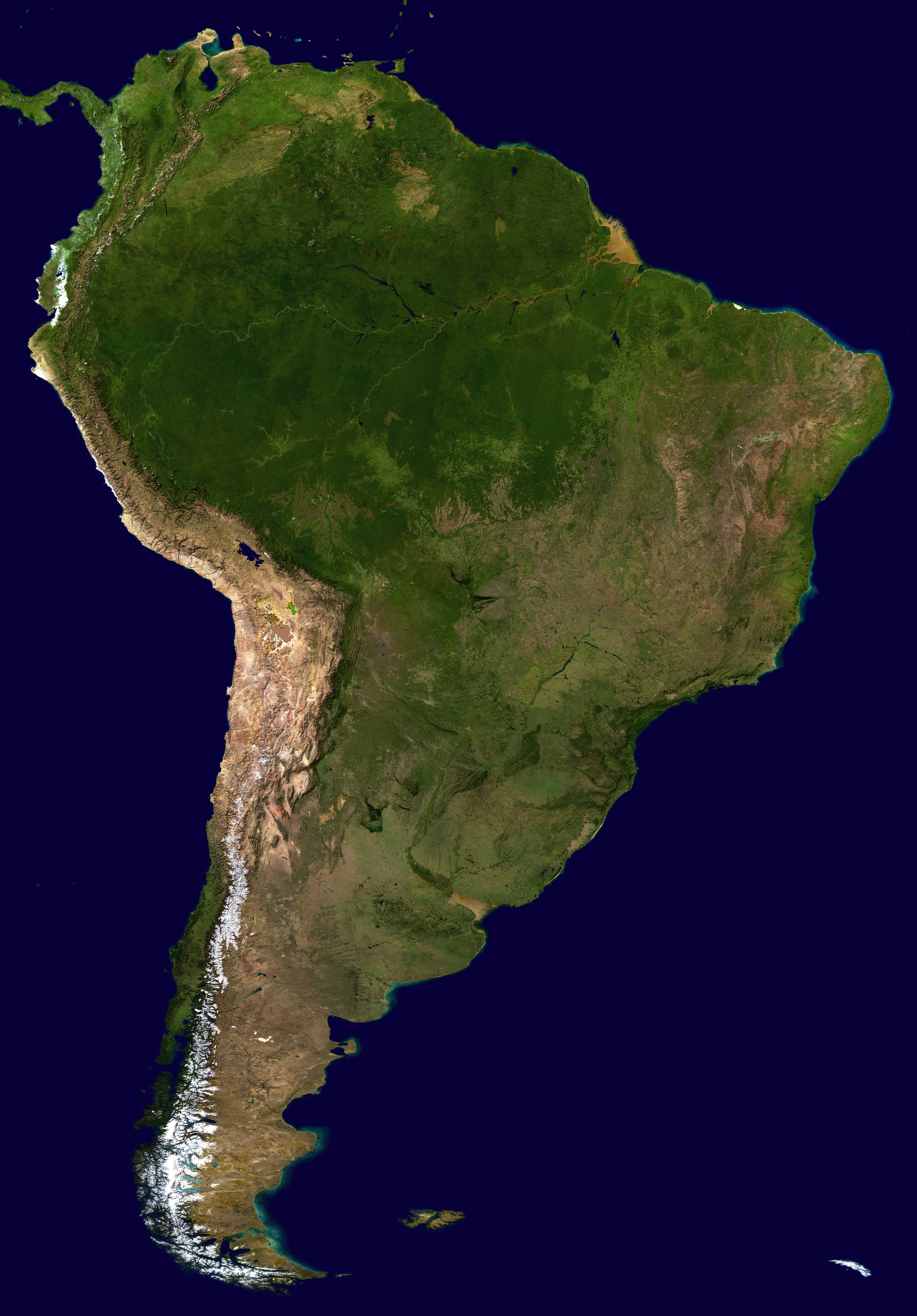 Large scale satellite map of South America South America