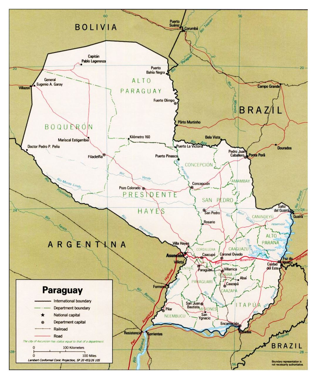 Detailed Political And Administrative Map Of Paraguay With Roads And Major Cities