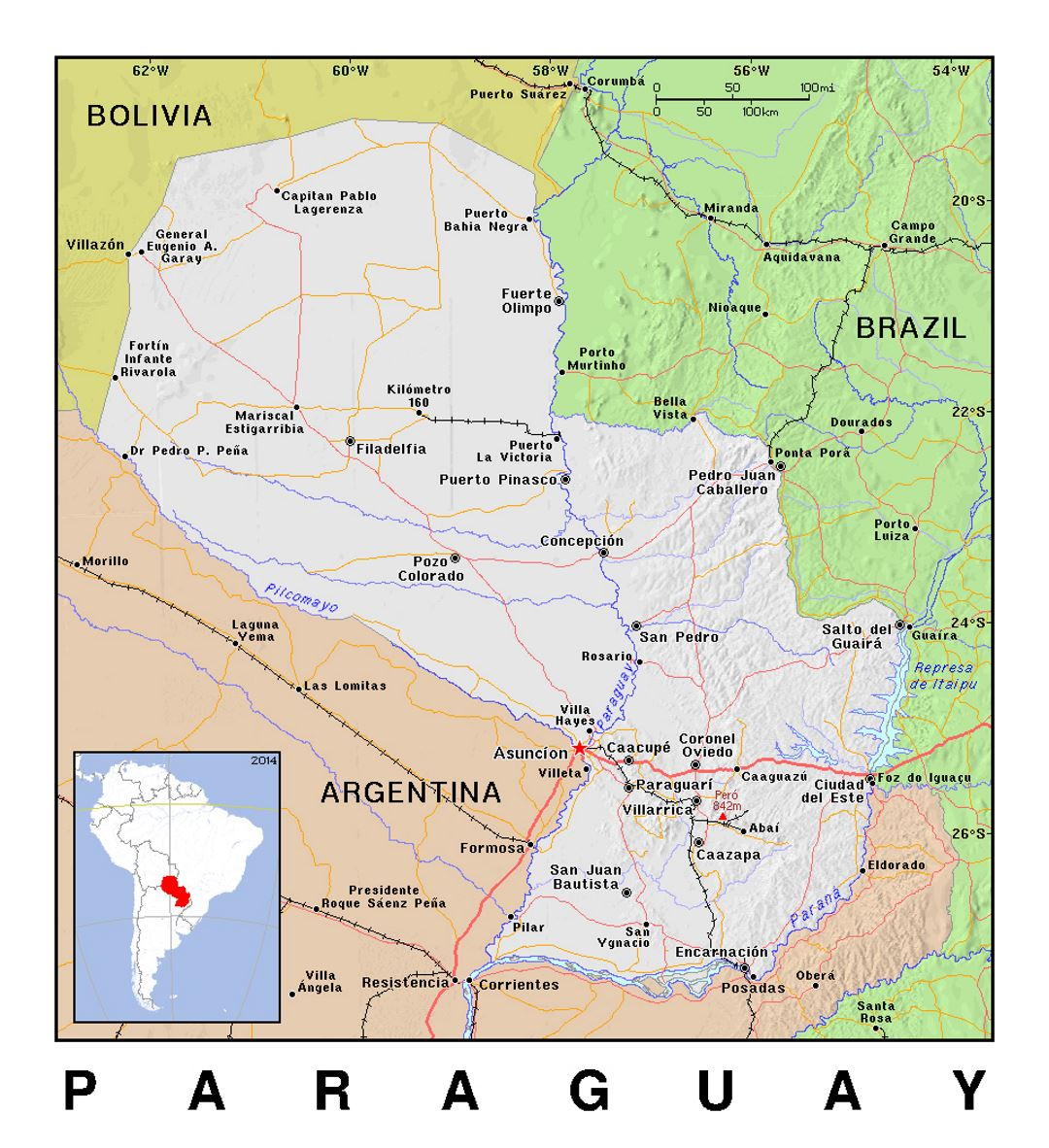 Detailed Political Map Of Paraguay With Relief Paraguay South - World political map 2014