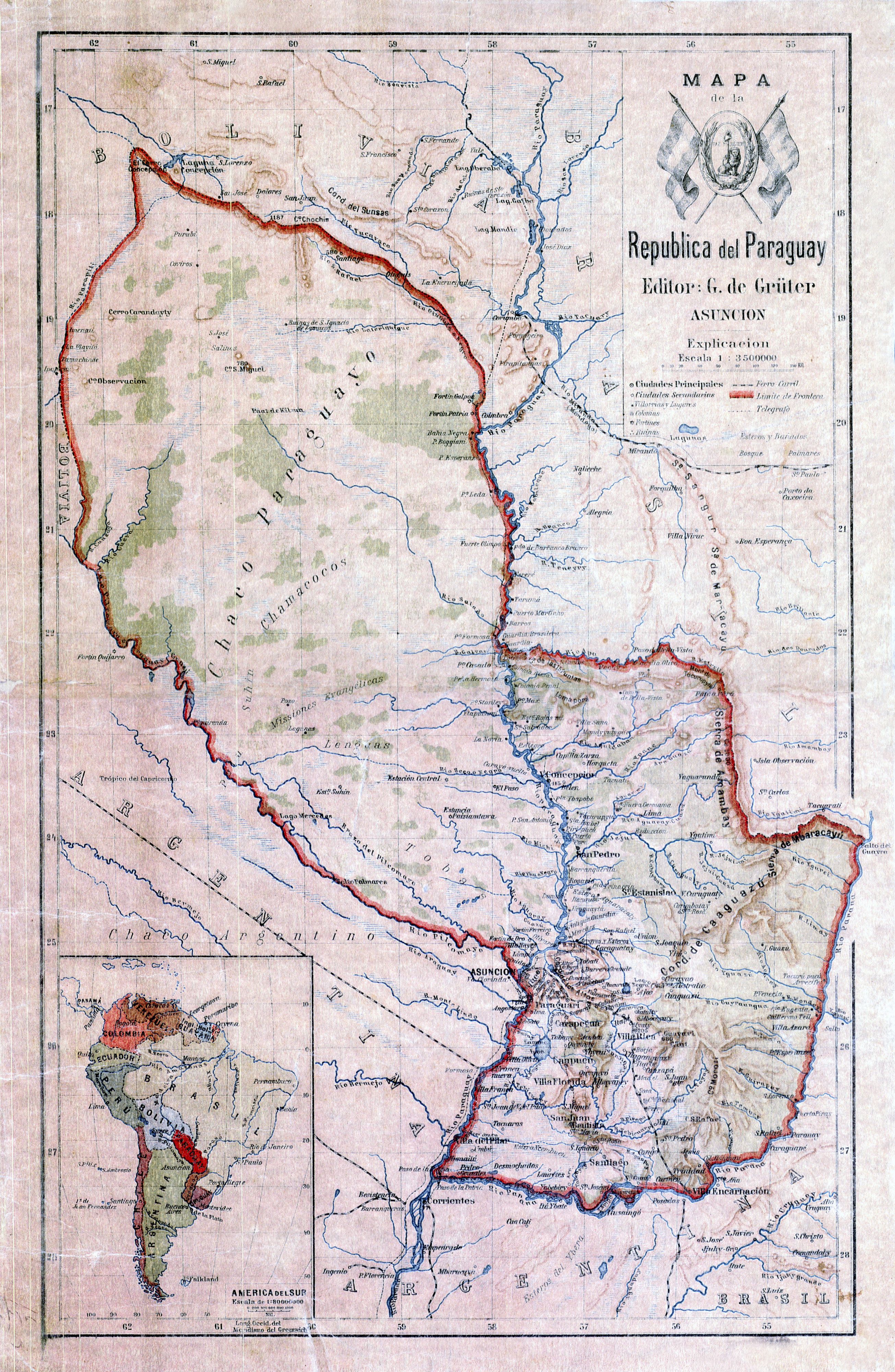 Large detailed old topographical map of Paraguay Paraguay South