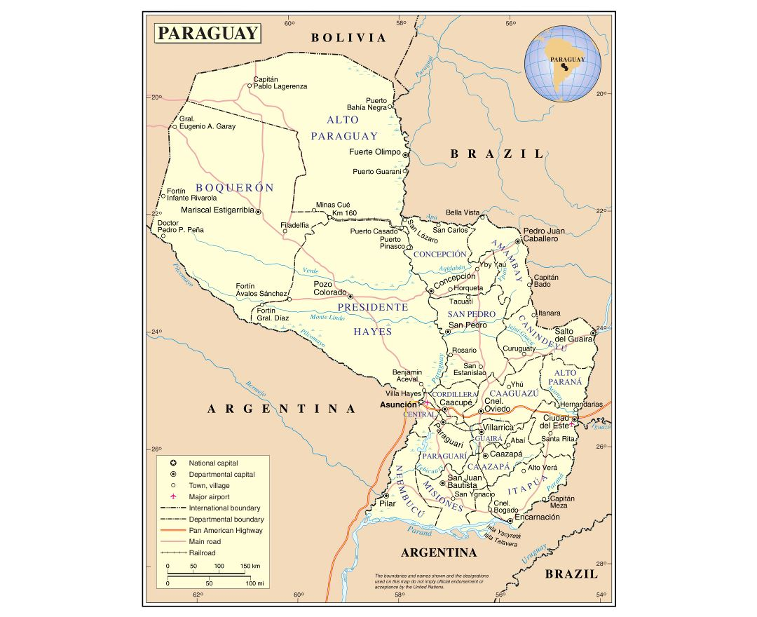 Maps of Paraguay Detailed map of Paraguay in English Tourist map