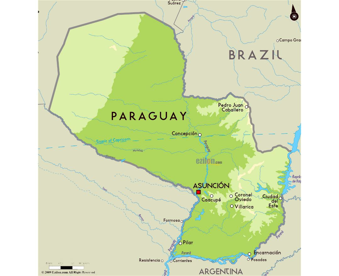 Maps of paraguay detailed map of paraguay in english tourist large physical map of paraguay with major cities sciox Images